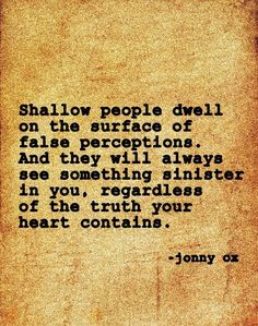 Shallow people see the reflection of their sinister and horrible selves, therefor they must resort to disparaging comments and lies to sully others.