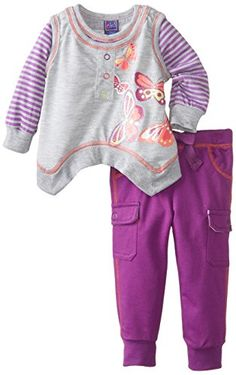 Ok Kids Baby Girls Amanda Legging Set GreyPurple 24 Months * Want to know more, click on the image. (This is an affiliate link) #BabyGirlHoodiesActive