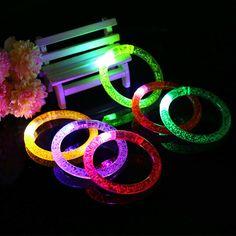 2PCS 85MM LED Light-up Toys LED Flashing Bracelet Light Up Bracelet Christmas Gift Toys Glowing Party Supplies FG01