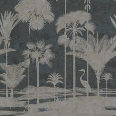 Shadow Palms • Tropical Palm Tree Mural • Milton & King USA Tree Wallpaper, Traditional Wallpaper, One Light, Designer Wallpaper, All The Colors, This Is Us, King, Palms, Prints