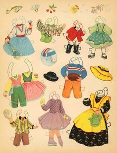 THE OLD WOMAN WHO LIVED IN A SHOE | Page of outfits for children at play: jump rope, tennis, ice skating, badminton, roller skate, football, horseback riding, fishing, Old Woman gardening 6 of 11