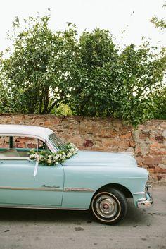Vintage bridal car   Destination Wedding in Greece