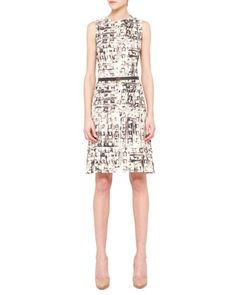 Abstract-Print+Belted+Shift+Dress+by+Akris+at+Neiman+Marcus.