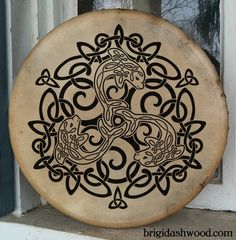 Celtic Dolphin Bodhran Drum Hand painted by BrightArrow on Etsy