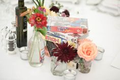 Love the idea of VHS tapes with centerpieces