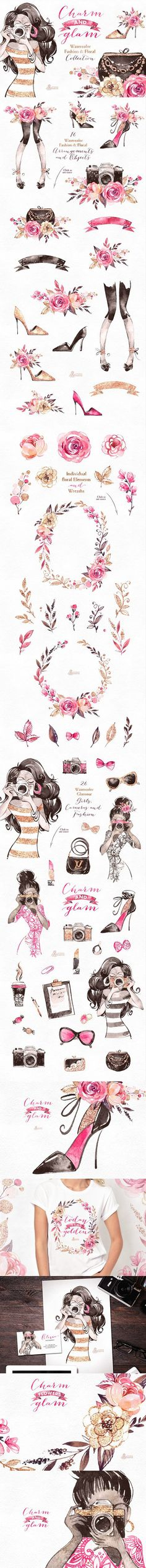 Charm & Glam. Fashion collection. Watercolor Flowers