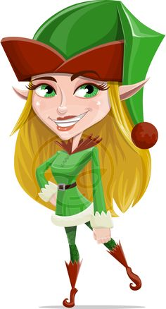 Candy Elf-licious: a female #elf #vector #cartoon dressed in a #Christmas themed outfit and a big hat with a pom pom.
