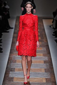 Red lace at the Valentino Autumn Winter 2012 show.
