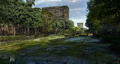 ArtStation - Jean Jaurès Boulevard, Matthieu REBUFFAT Apocalypse World, Apocalypse Art, Fantasy Landscape, Landscape Art, Apocalypse Landscape, Post Apocalyptic City, Shadowrun Rpg, 3d Background, Perfect Image