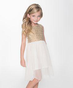 Look at this #zulilyfind! Brown & White Arabesque Mesh Sleeveless Dress - Toddler & Girls #zulilyfinds