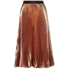 Christopher Kane mytheresa.com Exclusive Pleated Metallic Silk-Blend... (53.170 RUB) ❤ liked on Polyvore featuring skirts, saias, christopher kane, brown, brown skirt, metallic skirts, christopher kane skirt and knee length pleated skirt