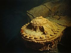 One of the Titanic's engines on the ocean floor. Two four-story-high reciprocating engines drove the Titanic's outboard propellers.