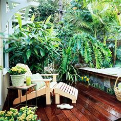 Deck with spa - use tropical plants for privacy.  Love the tiles bordering the porch.