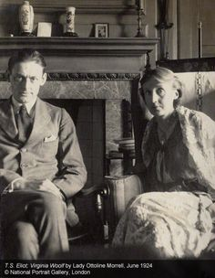 ¤ T.S. Eliot and Virginia Woolf june 1924. by Lady Ottoline Morrel. National Portrait Gallery, London