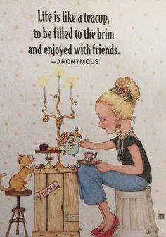 Handmade Fridge Magnet -Mary Engelbreit Artwork-Life Is Like A Teacup #MaryEngelbreit