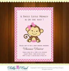 Personalized Pink or Purple/Lilac Girl Monkeys Baby Shower Printable DIY party invitation - ONLY digital file - you print via Etsy