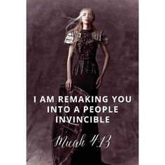 On your feet, Daughter of Zion! Be threshed of chaff, be refined of dross. I'm remaking you into a people invincible! Micah 4:13