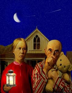 {*} American Gothic parody Image detail for -Night American Gothic pictures American Gothic Painting, American Gothic House, Grant Wood American Gothic, American Gothic Parody, American Art, Gothic Pictures, Mona Lisa, Famous Artwork, Photocollage