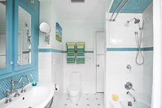 Color me turquoise! Love the glass hexagon tiles repeated everywhere.