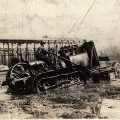 #holt75 #1913 #caterpillartractor busting through mud in France. #ww1 #originalphoto