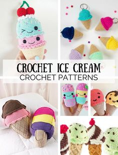 One more scoop please! Want to crochet ice cream cones or popsicles? Check out these free crochet patterns for crochet ice creams and popsicles. Crochet Keychain Pattern, Crochet Amigurumi Free Patterns, Easy Crochet Patterns, Kawaii Crochet, Cute Crochet, Crochet For Kids, Crochet Cake, Crochet Wool, Crochet Advent Calendar