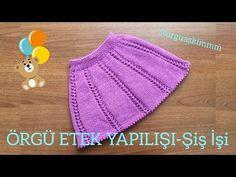 ÖRGÜ ETEK YAPILIŞI - Şiş İşi İle Detaylı Anlatım (1-2 Yaş) - YouTube Baby Hats Knitting, Knitting For Kids, Baby Knitting Patterns, Knitted Hats, Crochet Patterns, Knit Baby Dress, Baby Cardigan, Knit Crochet, Crochet Hats