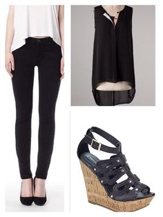 Black is always classic. Pair Yoga Jeans ankle jeans with a hi-low top and wedges. Perfection!!!