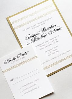 Gold embossed fringe dances across the top and bottom of this invitation paired with envelope color of your choice. Elegant and modern with a