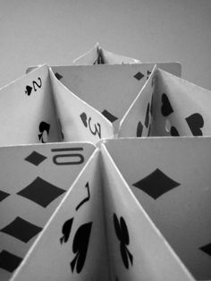 card house from worm's eye view  Photography by Emma Ellis