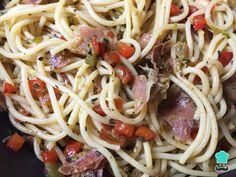 Receta de Pasta con jamón serrano y verduras - Fácil