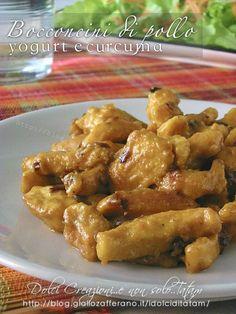 Bocconcini di pollo alla curcuma e yogurt