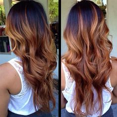 Dark brown hair roots // caramel ombre on tips perfect for the summer