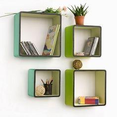 Trista - [Infinite Vitality] Square Leather Wall Shelf / Bookshelf / Floating Shelf (Set of 4)
