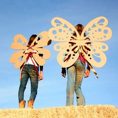 4 Giant Cardboard Wings Photo Prop Weddings and by MettaPrints - oh the possibilities!