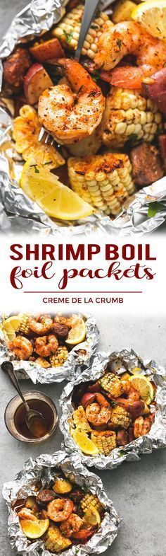 Easy, tasty shrimp boil foil packs baked or grilled with summer veggies, homemade seasoning, fresh lemon, and brown butter sauce. (Use Ghee for Whole 30) | lecremedelacrumb.com