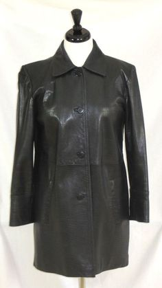Get ready for school with this Ellen Tracy Black Leather Coat Jacket Croc Texture Womens XS #EllenTracy #BasicCoat