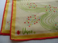 Vintage VERA Scarf Lady Bug Great Head Scarf by EmmaGirlCreations