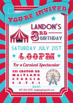 Carnival, party, birthday, kid, circus, bright color, party trends, invitation, blue, red $1.75