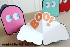 Ghost card for Halloween {free download} Jin's BOO! Pop-Up card. (Pac Man-inspired) | Under A Cherry Tree