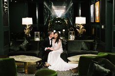 """Erin and Tony say """"I do"""" at an elegant, art-deco-inspired wedding planned by the talented @SwoonEventsTO! Don't miss all the details captured by @mangostudios. Venue: Ricarda's   Wedding Dress: LoversLand   Hair: Mazz Salon   Makeup: Rebel and Beauty   Florist: The Social Rose   Music: Soular   Décor & Rentals: Chuppah.ca & Mandap.ca   Valet Services: Gatsby Valet Inc.   Hotel: Bisha Hotel Toronto"""