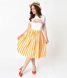 a1b704bde2 Marigold Yellow   White Striped Gathered Cotton Swing Skirt
