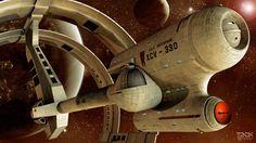 "Star Trek, Enterprise, XCV-330, Declaration Class, ""Ring Ship,"" Mesh by Luis Picolo and Raul Mamoru Render by AbaKon"