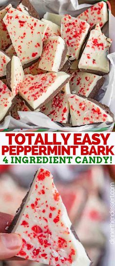 Peppermint Bark is sweet layers of dark and white chocolate topped with crushed . Peppermint Bark is sweet layers of dark and white chocolate topped with crushed peppermint candies and broken into pieces. EASY to make and no baking required! Christmas Snacks, Christmas Cooking, Holiday Treats, Christmas Candy, Christmas Parties, Easy Christmas Baking Recipes, Christmas Goodies, Christmas Deserts Easy, White Christmas Desserts