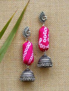 Jewelry Express Home Diy Fabric Jewellery, Fabric Earrings, Fancy Jewellery, Jewelry Design Earrings, Thread Jewellery, Textile Jewelry, Diy Earrings, Earrings Handmade, Thread Bangles