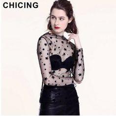 CHICING Women Sexy Mesh Transparent Star Spot Heart Blouse 2017 High Street Summer Ladies Basic Top And Shirt Femininas A1612040