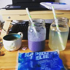 Today's #psychic session bevvies are:  Chamomile tea banana hemp but blueberry smoothie orange juice viciously diluted with water and an ice pack because I just whacked my funny bone!