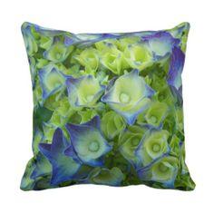 Blue Hydrangea Buds Throw Pillow #flowers #pillows