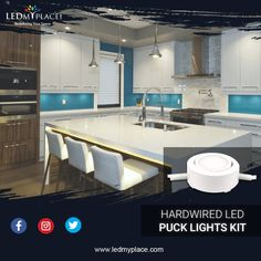 Give a different identity to your kitchen with Hardwired LED Puck Lights Kit, Available only on LEDMyplace. 12v Led Strip Lights, Led Puck Lights, Led Flood Lights, Strip Lighting, Led Under Cabinet Lighting, Kitchens And Bedrooms, Design Interiors, Office Interior Design, White Trim