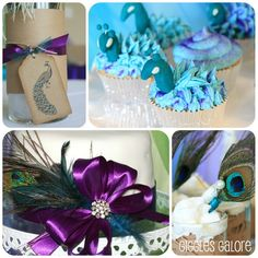 Peacock Princess Party: like the blue swirl in the back with the purple sugar.  maybe with an edible peacock feather on top =)