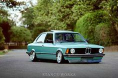 BMW E21 3 series green slammed Stanceworks